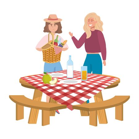 Women friends having picnic design, Food summer outdoor leisure healthy spring lunch and meal theme Vector illustration