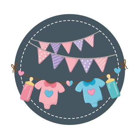 round frame with baby clothes 向量圖像