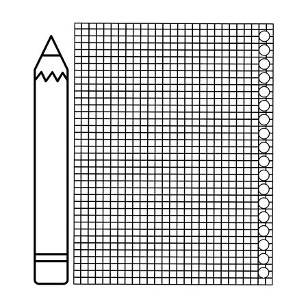 sheet of notebook paper with pencil vector illustration design