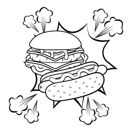 hamburger and hot dog black and white Illustration