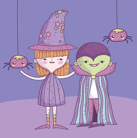 happy halloween celebration girl witch and boy monster with spiders