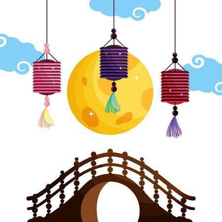 China lanterns vector design vector illustration Çizim