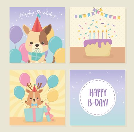 birthday card with little animals characters Stock Vector - 137727566
