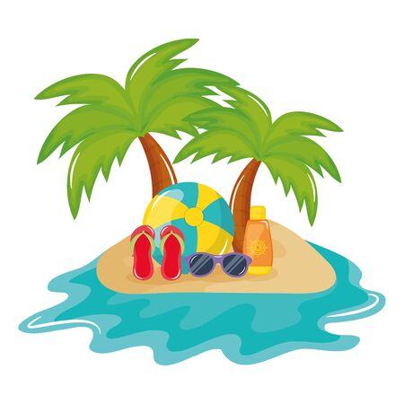 beach balloon with sandals and solar blocker