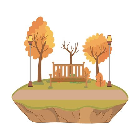 Isolated bench and trees design