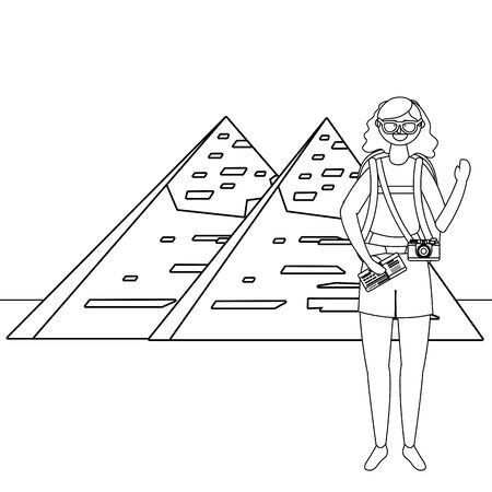 Isolated egyptian pyramids landmark design Illusztráció