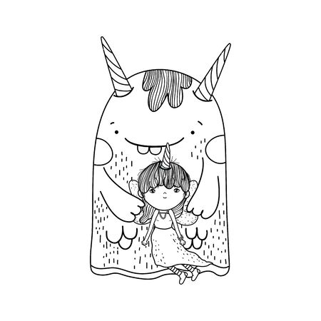 little fairy with monster characters Ilustrace