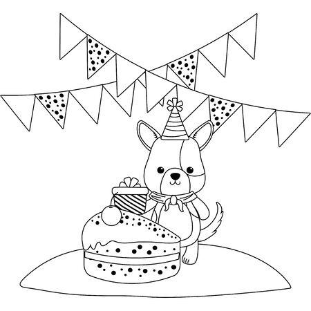 Dog cartoon with happy birthday icon design Stock Vector - 137638492
