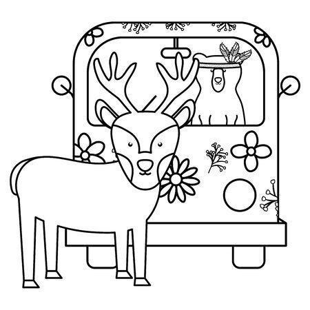 reindeer and bear in hippie van bohemian style Banque d'images - 137640006