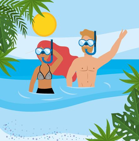 woman and man wearing swimsuit and bathing shorts with snorkel masks  イラスト・ベクター素材