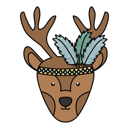 reindeer with feathers hat bohemian style character