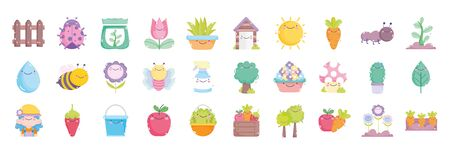 gardening cartoon characters tools collection vector illustration