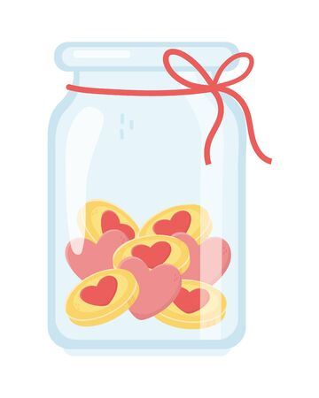 jar glass with coins money hearts love charity and donation concept vector illustration
