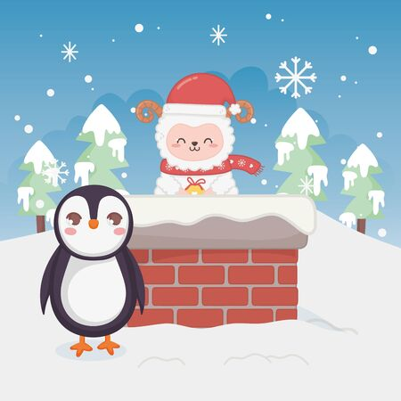 cute penguin and sheep in chimney trees winter landscape merry christmas vector illustration Illustration