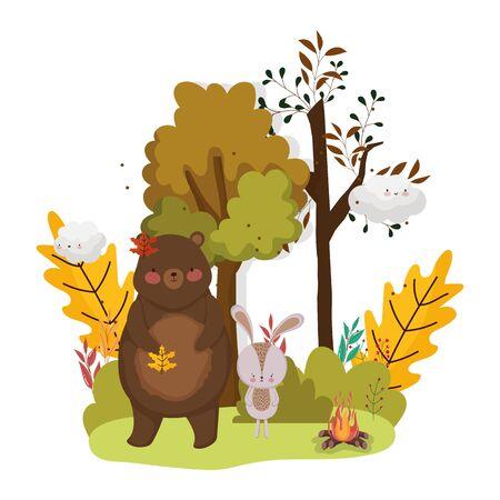 słodkie liście zwierząt witaj jesień