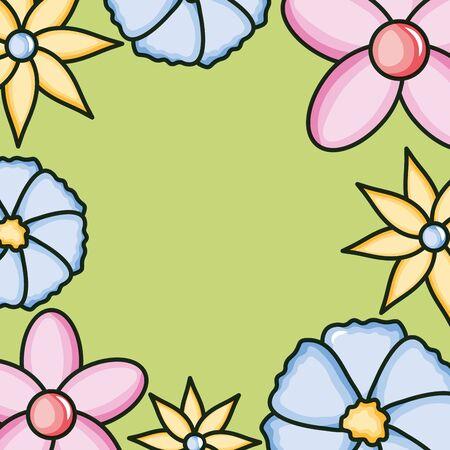 flowers garden plants decorative frame vector illustration design Vetores