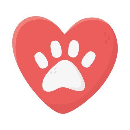 Liebe Herzpfote Tieradoption Nächstenliebe und Spende Vektorgrafik