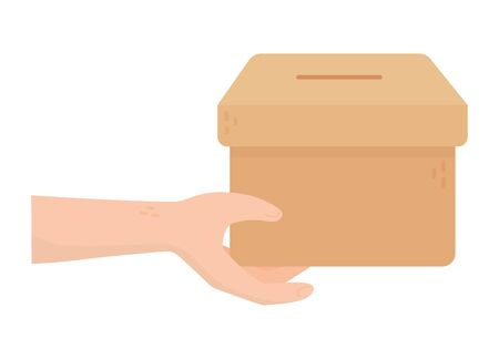 hand with cardboard box charity and donation