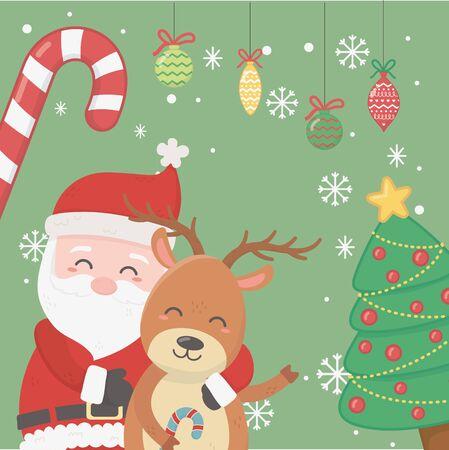 Père Noël étreignant renne arbre boules de canne en bonbon célébration joyeux noël affiche
