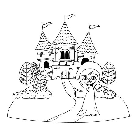 Medieval witch cartoon of fairytale design Ilustrace