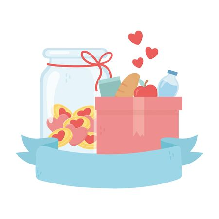 box with food water jar glass hearts love money charity and donation