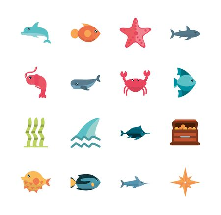marine life, cartoon sea fauna animal set
