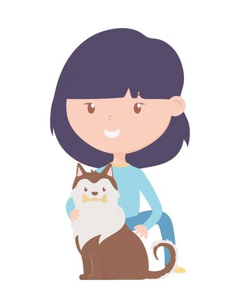 young woman with pet siberian dog cartoon characters