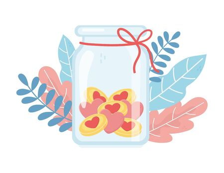 jar glass hearts love charity and donation concept