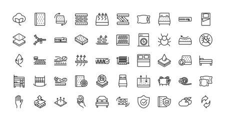 mattress comfortable soft textile icons set linear design Vetores