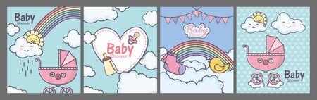 baby shower pink pram heart rainbow clouds cards