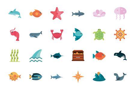 marine life, cartoon sea fauna animal set