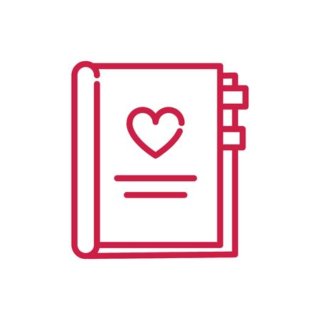 happy valentines day book heart love bookmarks vector illustration red line design