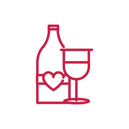 happy valentines day champagne bottle and glass drink love vector illustration red line design Banque d'images - 137763454