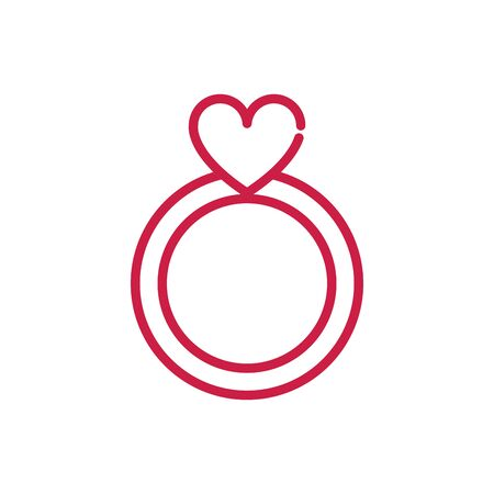 happy valentines day cute ring jewelry heart vector illustration red line design