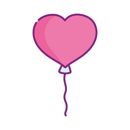 happy valentines day, cute balloon shaped heart celebration  イラスト・ベクター素材