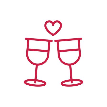happy valentines day toast champagne glasses heart love red line design Banque d'images - 137773502