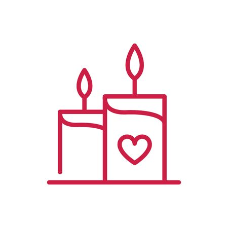 happy valentines day burning candles heart love romance red line design Imagens - 137766188