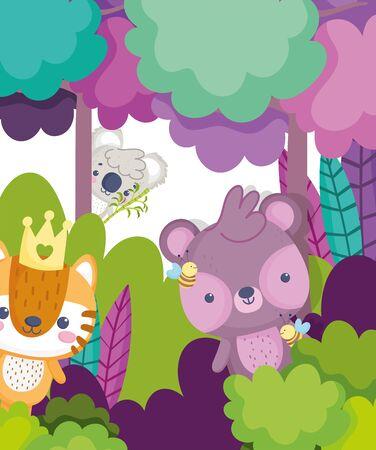 animaux mignons koala ours tigre forêt feuilles feuillage dessin animé