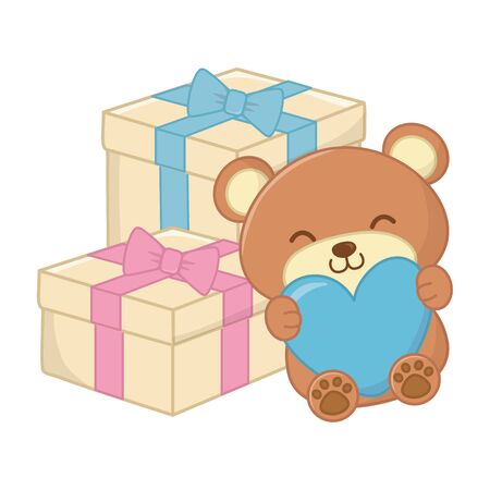 toy bear holding heart and gift boxes with ribbon and bow vector illustration graphic design Иллюстрация