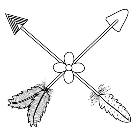 bohemian arrows crossed with feathers and flowers Ilustração