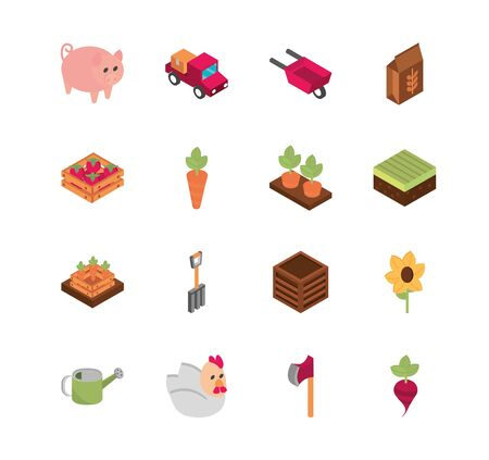 farm harvest agriculture rural isometric icons collection