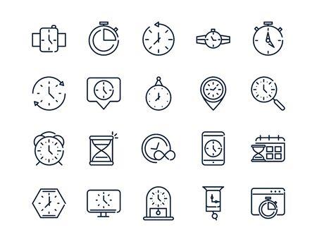 heure horloge minuterie heure date conception linéaire définir des icônes Vecteurs