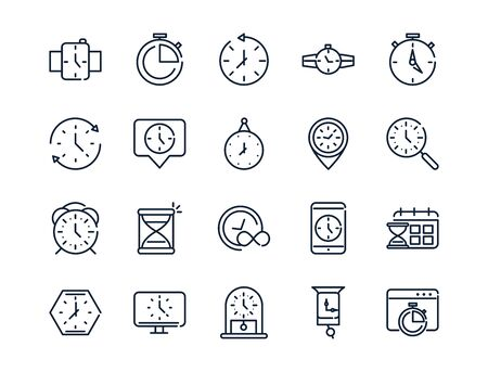 tijd klok timer uur datum lineaire ontwerp set pictogrammen Vector Illustratie