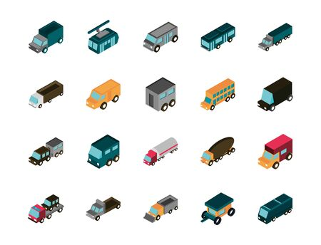 transport car truck vehicles isometric icons set Stock Vector - 137766201