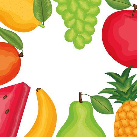 fresh and tropicals fruits frame Ilustração