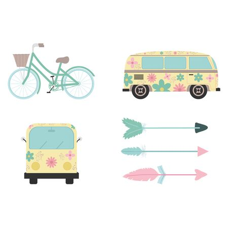 bohemian and vintage set icons Banque d'images - 137766184