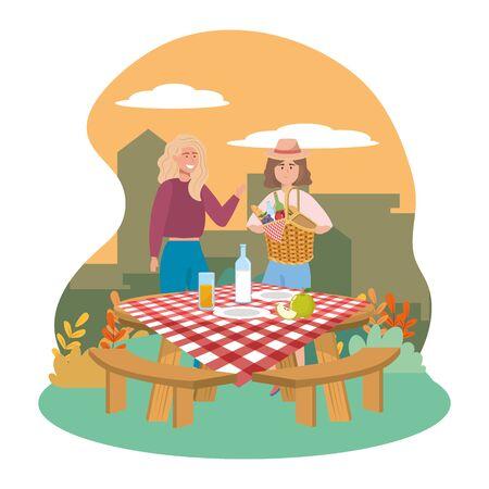 Women friends having picnic design Ilustração