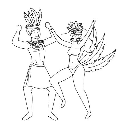 couple celebrating brazil canival in black and white