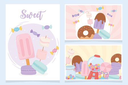 sweet products confectionery ice cream cookies candies snack cards Archivio Fotografico - 137768067