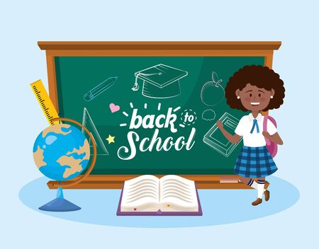 girl student with blackboard and global map with book